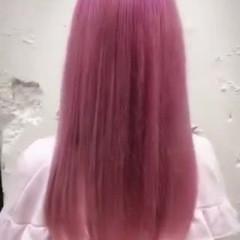 ハイトーンカラー ピンク ロング ガーリー ヘアスタイルや髪型の写真・画像