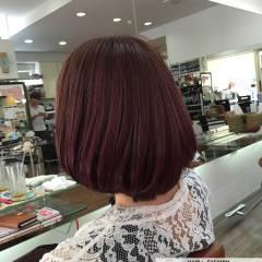 ピンク レッド ガーリー ボブ ヘアスタイルや髪型の写真・画像