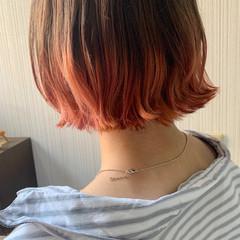 アンニュイほつれヘア オレンジ ゆるふわ ヘアアレンジ ヘアスタイルや髪型の写真・画像