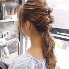 ロング フェミニン ハイライト ヘアアレンジ ヘアスタイルや髪型の写真・画像