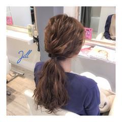 波ウェーブ ローポニーテール ショート 簡単ヘアアレンジ ヘアスタイルや髪型の写真・画像
