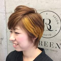 イエロー オレンジ ヘアスタイルや髪型の写真・画像