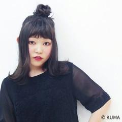 簡単ヘアアレンジ ミディアム ストリート 黒髪 ヘアスタイルや髪型の写真・画像