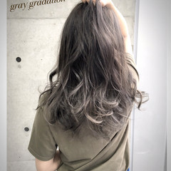 グラデーションカラー 渋谷系 ガーリー アッシュ ヘアスタイルや髪型の写真・画像