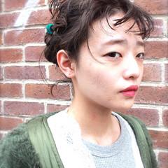 ミディアム ハーフアップ ストリート ゆるふわ ヘアスタイルや髪型の写真・画像