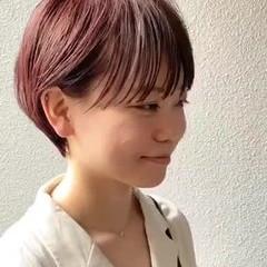 ナチュラル ショートボブ ピンクアッシュ ナチュラル可愛い ヘアスタイルや髪型の写真・画像