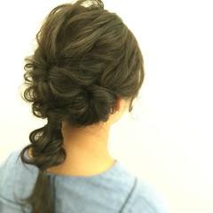 デート 結婚式 セミロング ゆるふわ ヘアスタイルや髪型の写真・画像