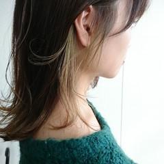 ブリーチ ハイライト ナチュラル セミロング ヘアスタイルや髪型の写真・画像