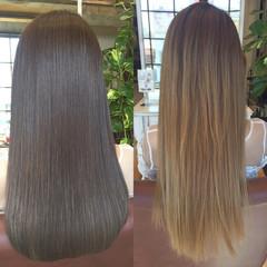 透明感 ストリート アッシュ ロング ヘアスタイルや髪型の写真・画像