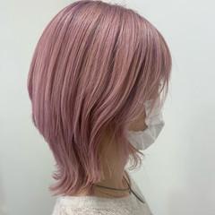ショート ナチュラルウルフ ストリート ピンク ヘアスタイルや髪型の写真・画像