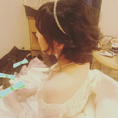 結婚式 ヘアアレンジ ウェーブ ブライダル ヘアスタイルや髪型の写真・画像
