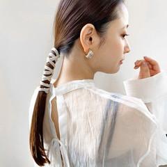 ブリーチなし ナチュラル 簡単ヘアアレンジ セミロング ヘアスタイルや髪型の写真・画像