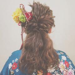ナチュラル ヘアアレンジ ハーフアップ くるりんぱ ヘアスタイルや髪型の写真・画像