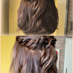 アッシュ 大人かわいい ハーフアップ ストリート ヘアスタイルや髪型の写真・画像