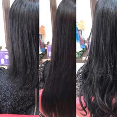 エクステ 黒髪 コテ巻き 韓国ヘア ヘアスタイルや髪型の写真・画像