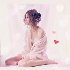 フェミニン セミロング グラデーションカラー ピュア ヘアスタイルや髪型の写真・画像