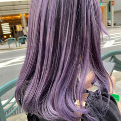 ブルーバイオレット ナチュラル ピンクパープル レイヤーカット ヘアスタイルや髪型の写真・画像