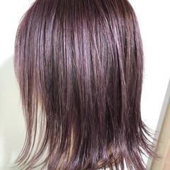 パープルカラー ピンクパープル ボブ ダブルカラー ヘアスタイルや髪型の写真・画像