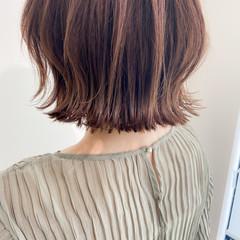 外ハネボブ モテ髪 切りっぱなしボブ デジタルパーマ ヘアスタイルや髪型の写真・画像
