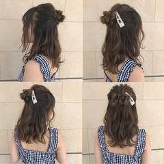 フェミニン ヘアアレンジ ミディアム ハイライト ヘアスタイルや髪型の写真・画像