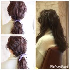 結婚式 フェミニン ロング パーティ ヘアスタイルや髪型の写真・画像