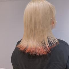 ハイトーンカラー ハイトーン フェミニン 裾カラー ヘアスタイルや髪型の写真・画像