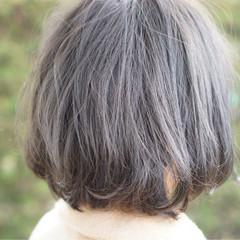 グレージュ グレー アッシュ ボブ ヘアスタイルや髪型の写真・画像