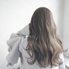 ロング ハイライト グレージュ 透明感 ヘアスタイルや髪型の写真・画像