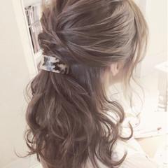 アッシュ フェミニン ハイライト セルフヘアアレンジ ヘアスタイルや髪型の写真・画像