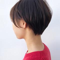 コンサバ マッシュショート デート 耳掛けショート ヘアスタイルや髪型の写真・画像