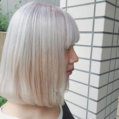 ブリーチ ラベンダー ストリート ミディアム ヘアスタイルや髪型の写真・画像