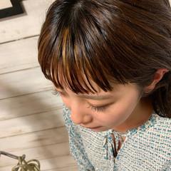 前髪 モード セミロング ハイライト ヘアスタイルや髪型の写真・画像