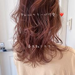 フェミニン ラベンダーピンク ピンクラベンダー セミロング ヘアスタイルや髪型の写真・画像