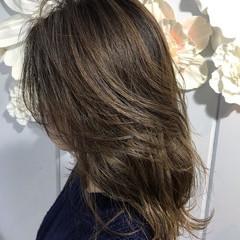 3Dハイライト 透け感 ミディアム エレガント ヘアスタイルや髪型の写真・画像