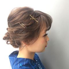 フェミニン ピュア ヘアアレンジ ショート ヘアスタイルや髪型の写真・画像