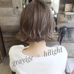 ハイライト 外ハネ 外国人風 ボブ ヘアスタイルや髪型の写真・画像