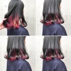 コリアンピンク レッド ピンク パープル ヘアスタイルや髪型の写真・画像