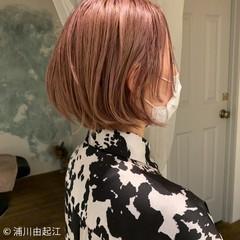 モード 切りっぱなしボブ 白髪染め 大人かわいい ヘアスタイルや髪型の写真・画像