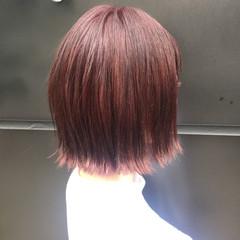 ボルドー ボブ ストリート 秋 ヘアスタイルや髪型の写真・画像
