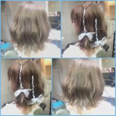 ガーリー セミロング フェミニン グラデーションカラー ヘアスタイルや髪型の写真・画像