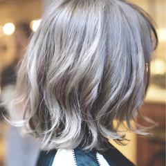 バレイヤージュ ガーリー ボブ ダブルカラー ヘアスタイルや髪型の写真・画像