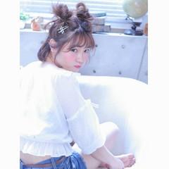 簡単ヘアアレンジ ショート ガーリー 大人かわいい ヘアスタイルや髪型の写真・画像