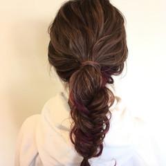 ナチュラル ヘアアレンジ 簡単ヘアアレンジ ピンク ヘアスタイルや髪型の写真・画像