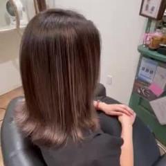 切りっぱなしボブ バレイヤージュ ミディアム コントラストハイライト ヘアスタイルや髪型の写真・画像