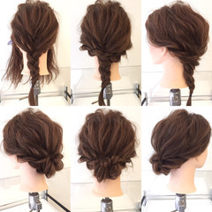 セミロング 簡単ヘアアレンジ 編み込み ショート ヘアスタイルや髪型の写真・画像