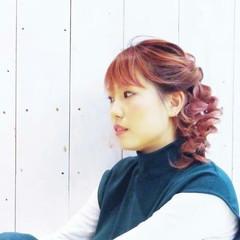 ピンク 簡単ヘアアレンジ ミディアム 三つ編み ヘアスタイルや髪型の写真・画像