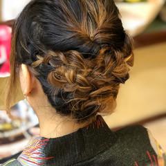 ヘアアレンジ セミロング アップスタイル 和装 ヘアスタイルや髪型の写真・画像
