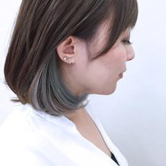 大人かわいい インナーカラー ボブ カラフルカラー ヘアスタイルや髪型の写真・画像