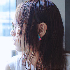 外国人風 アッシュ ハイライト くせ毛風 ヘアスタイルや髪型の写真・画像