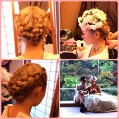 編み込み アップスタイル ナチュラル 花嫁 ヘアスタイルや髪型の写真・画像